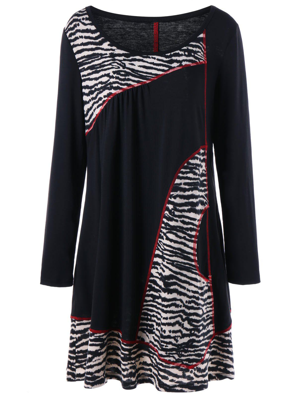 Plus Size Zebra Contrast Topstitch Longline T-shirtWOMEN<br><br>Size: 5XL; Color: BLACK; Material: Polyester,Spandex; Shirt Length: Long; Sleeve Length: Full; Collar: Scoop Neck; Style: Casual; Season: Fall,Spring; Pattern Type: Others; Weight: 0.3700kg; Package Contents: 1 x T-shirt;