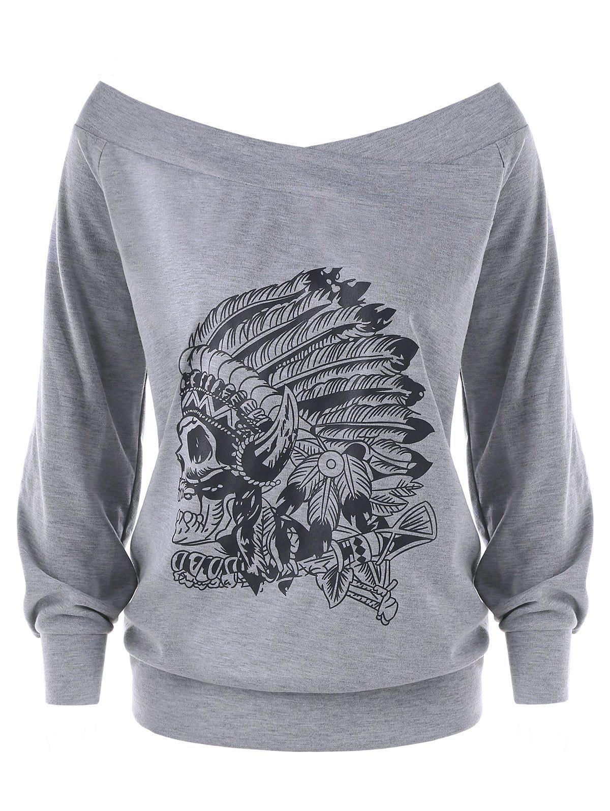 Plus Size Off The Shoulder Indian Print Pullover SweatshirtWOMEN<br><br>Size: 3XL; Color: GRAY; Material: Polyester,Spandex; Shirt Length: Regular; Sleeve Length: Full; Style: Fashion; Pattern Style: Others; Season: Fall,Spring; Weight: 0.4300kg; Package Contents: 1 x Sweatshirt;