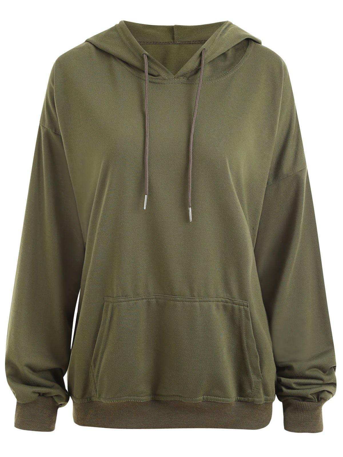 Drop Shoulder Plus Size Plain Hoodie with PocketWOMEN<br><br>Size: 2XL; Color: ARMY GREEN; Material: Cotton Blend,Polyester; Shirt Length: Regular; Sleeve Length: Full; Style: Fashion; Pattern Style: Solid; Embellishment: Front Pocket; Season: Fall,Winter; Weight: 0.3700kg; Package Contents: 1 x Hoodie;