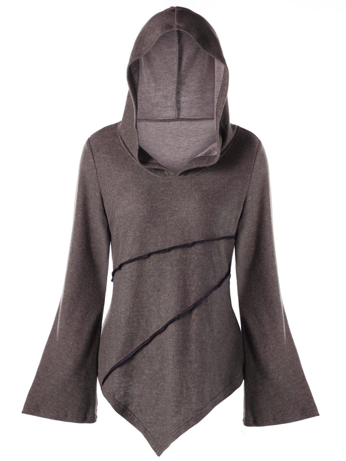 Flare Sleeve Exposed Seam Asymmetric HoodieWOMEN<br><br>Size: M; Color: COFFEE; Material: Cotton Blend,Polyester; Shirt Length: Long; Sleeve Length: Full; Style: Fashion; Pattern Style: Solid; Season: Fall,Spring; Weight: 0.3580kg; Package Contents: 1 x Hoodie;