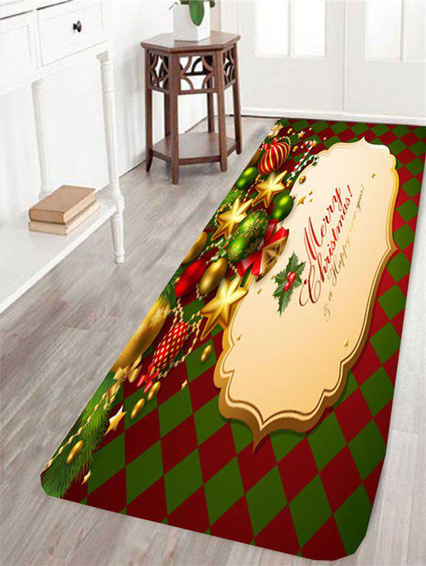 Christmas Ball and Rhombus Pattern Skidproof RugHOME<br><br>Size: W16 INCH * L47 INCH; Color: COLORFUL; Products Type: Bath rugs; Materials: Coral FLeece; Pattern: Geometric; Style: Festival; Shape: Rectangle; Package Contents: 1 x Rug;