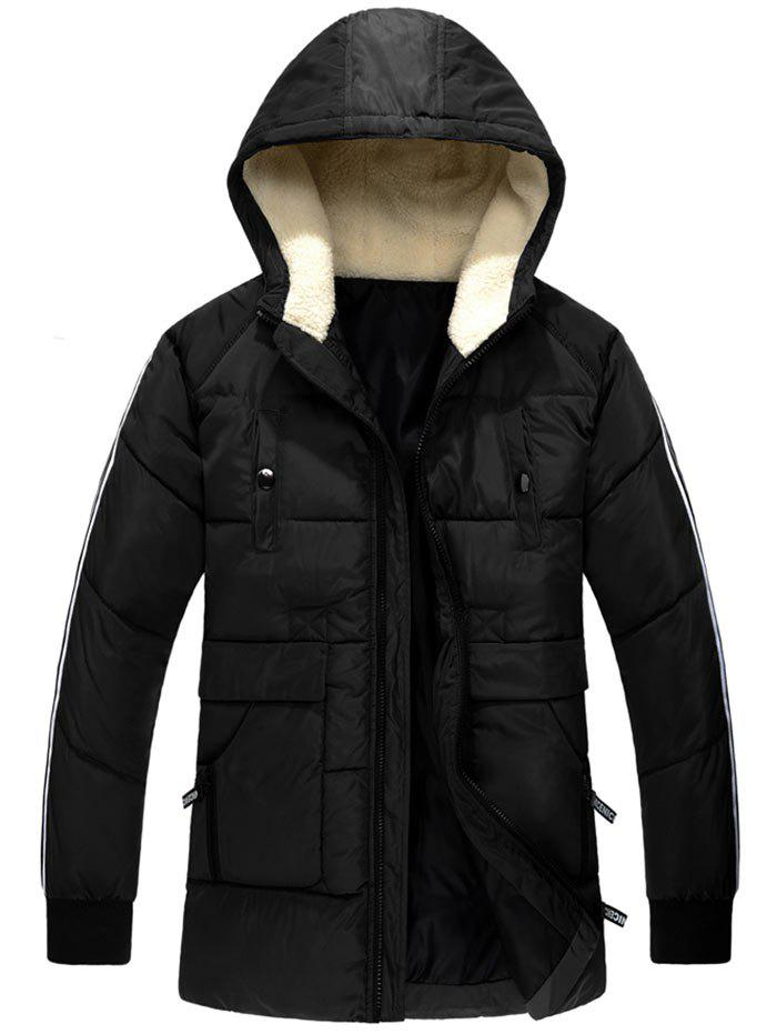 Zip Up Side Stripe Hooded Padded CoatMEN<br><br>Size: L; Color: BLACK; Clothes Type: Padded; Style: Casual; Material: Polyester; Collar: Hooded; Shirt Length: Regular; Sleeve Length: Long Sleeves; Season: Winter; Weight: 1.2400kg; Package Contents: 1 x Coat;