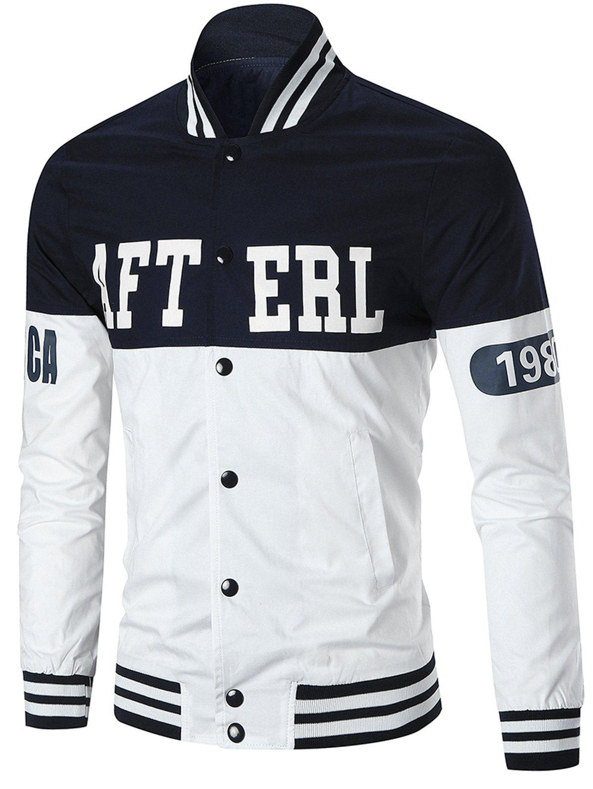 Letter Figure Print Limited Baseball JacketMEN<br><br>Size: 3XL; Color: WHITE; Clothes Type: Jackets; Style: Casual,Fashion,Streetwear; Material: Cotton,Polyester; Collar: Stand Collar; Shirt Length: Regular; Sleeve Length: Long Sleeves; Season: Fall,Spring; Closure Type: Zipper; Crafts: Printing; Occasion: Casual ,Club,Daily Use,Going Out,Sports; Weight: 0.5100kg; Package Contents: 1 x Jacket;