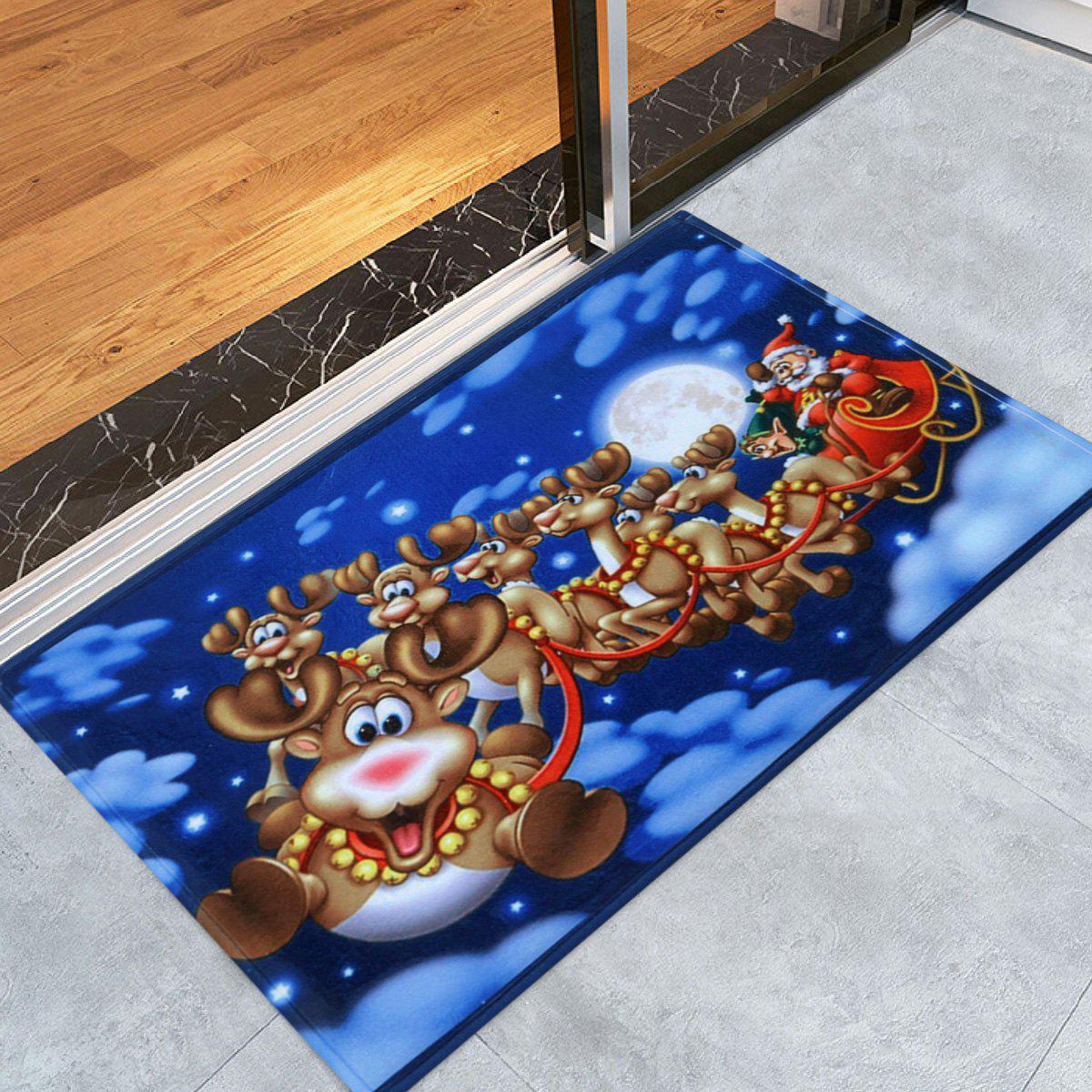 Santa Sleigh Print Nonslip Coral Fleece Christmas Bath RugHOME<br><br>Size: W16 INCH * L24 INCH; Color: BLUE; Products Type: Bath rugs; Materials: Flannel; Pattern: Elk,Santa Claus; Style: Festival; Shape: Rectangular; Package Contents: 1 x Rug;