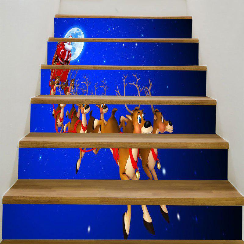 Starry Moon Night Christmas Sleigh Patterned Stair StickersHOME<br><br>Size: 6PCS:39*7 INCH( NO FRAME ); Color: BLUE AND RED; Wall Sticker Type: 3D Wall Stickers; Functions: Stair Stickers; Theme: Christmas; Pattern Type: Moon,Santa Claus; Material: PVC; Feature: Removable; Weight: 0.3100kg; Package Contents: 6 x Stair Stickers (Pcs);