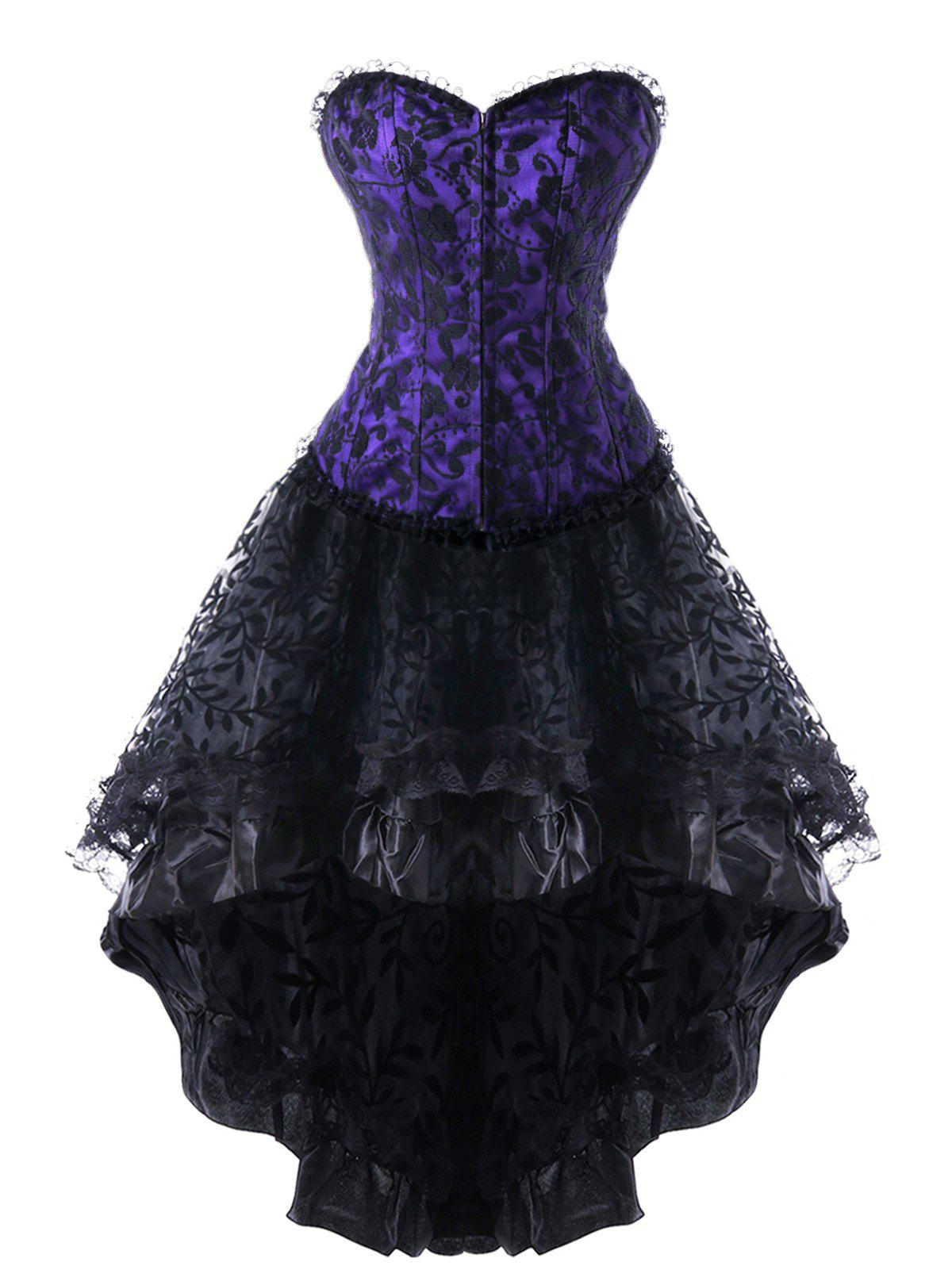 Strapless Lace Up Steel High Low DressWOMEN<br><br>Size: L; Color: PURPLE; Material: Polyester; Pattern Type: Patchwork; Embellishment: Patch Designs,Vintage; Weight: 0.2600kg; Package Contents: 1 x Corset Dress;