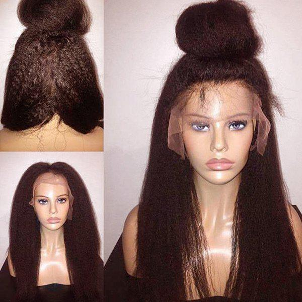 Unique Long Free Part Fluffy Yaki Straight Lace Front Synthetic Wig