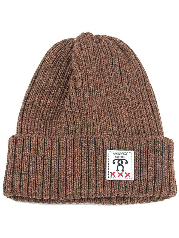 Sale Outdoor Label Embellished Flanging Knit Beanie