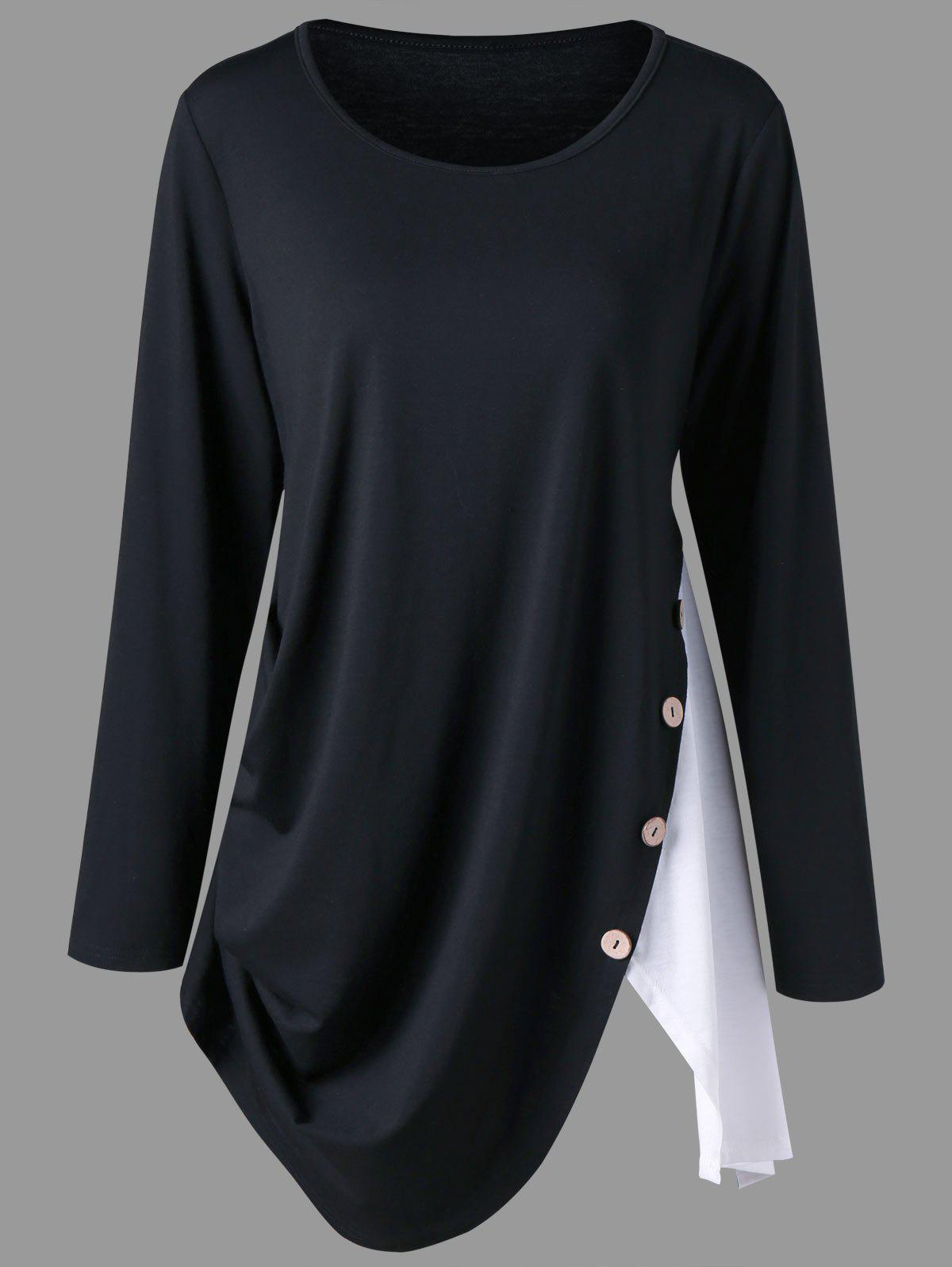 Plus Size Two Tone Asymmetrical T-shirtWOMEN<br><br>Size: 5XL; Color: WHITE AND BLACK; Material: Polyester,Spandex; Shirt Length: Long; Sleeve Length: Full; Collar: Round Neck; Style: Casual; Season: Fall,Spring; Embellishment: Button; Pattern Type: Solid; Weight: 0.3400kg; Package Contents: 1 x T-shirt;