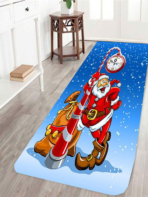 Skidproof Santa Claus Clock Pattern RugHOME<br><br>Size: W24 INCH * L71 INCH; Color: BLUE AND RED; Products Type: Bath rugs; Materials: Coral FLeece; Pattern: Santa Claus; Style: Festival; Shape: Rectangle; Package Contents: 1 x Rug;