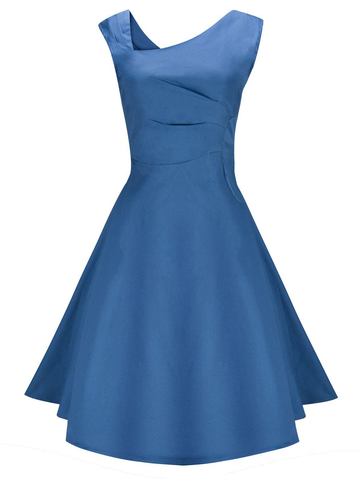 Vintage Skew Neck Semi Cocktail Party Pin Up DressWOMEN<br><br>Size: M; Color: BLUE; Style: Vintage; Material: Cotton,Polyester; Silhouette: Asymmetrical; Dress Type: Fit and Flare Dress,Skater Dress; Dresses Length: Knee-Length; Neckline: Skew Collar; Sleeve Length: Sleeveless; Pattern Type: Solid; With Belt: No; Season: Fall,Spring; Weight: 0.3500kg; Package Contents: 1 x Dress;