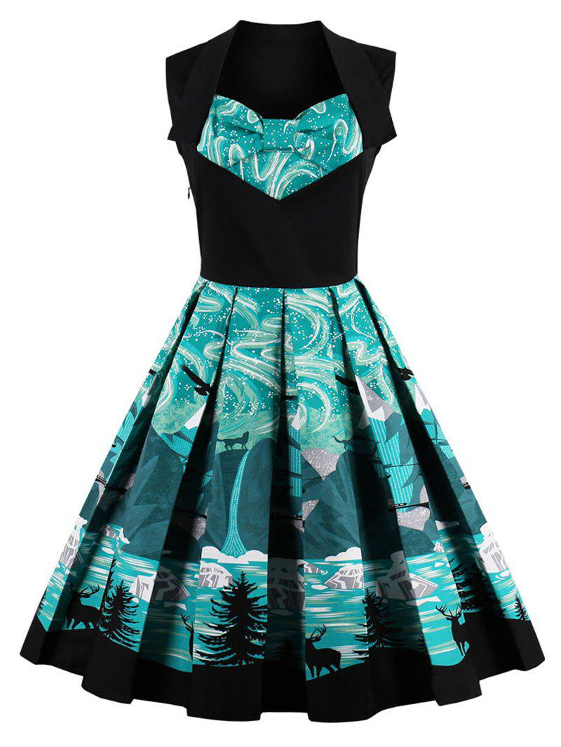 Vintage Bowknot Elk Forest Print Skater Christmas DressWOMEN<br><br>Size: XL; Color: GREEN; Style: Vintage; Material: Cotton,Polyester; Silhouette: A-Line; Dress Type: Fit and Flare Dress,Skater Dress,Swing Dress; Dresses Length: Knee-Length; Neckline: Sweetheart Neck; Sleeve Length: Sleeveless; Pattern Type: Print; With Belt: No; Season: Fall,Spring; Weight: 0.4000kg; Package Contents: 1 x Dress;