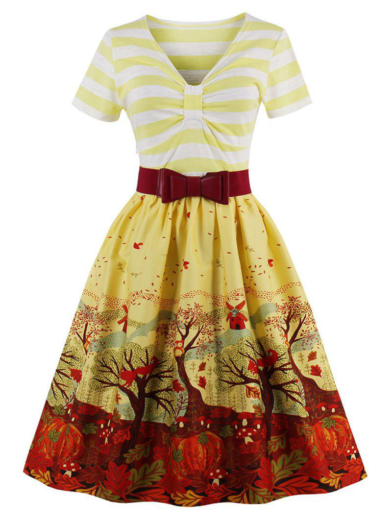 Vintage Elk Forest Print Striped Christmas Pin Up DressWOMEN<br><br>Size: M; Color: YELLOW; Style: Vintage; Material: Cotton,Polyester; Silhouette: A-Line; Dresses Length: Knee-Length; Neckline: V-Neck; Sleeve Length: Short Sleeves; Pattern Type: Floral,Print,Striped; With Belt: Yes; Season: Fall,Spring; Weight: 0.4200kg; Package Contents: 1 x Dress  1 x Belt;