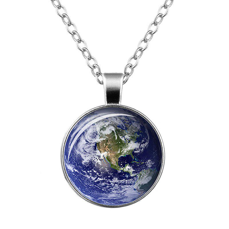 Sky Print Round Pendant NecklaceJEWELRY<br><br>Color: DEEP BLUE; Item Type: Pendant Necklace; Gender: For Women; Necklace Type: Link Chain; Style: Trendy; Shape/Pattern: Round; Length: 55CM; Weight: 0.0400kg; Package Contents: 1 x Necklace;