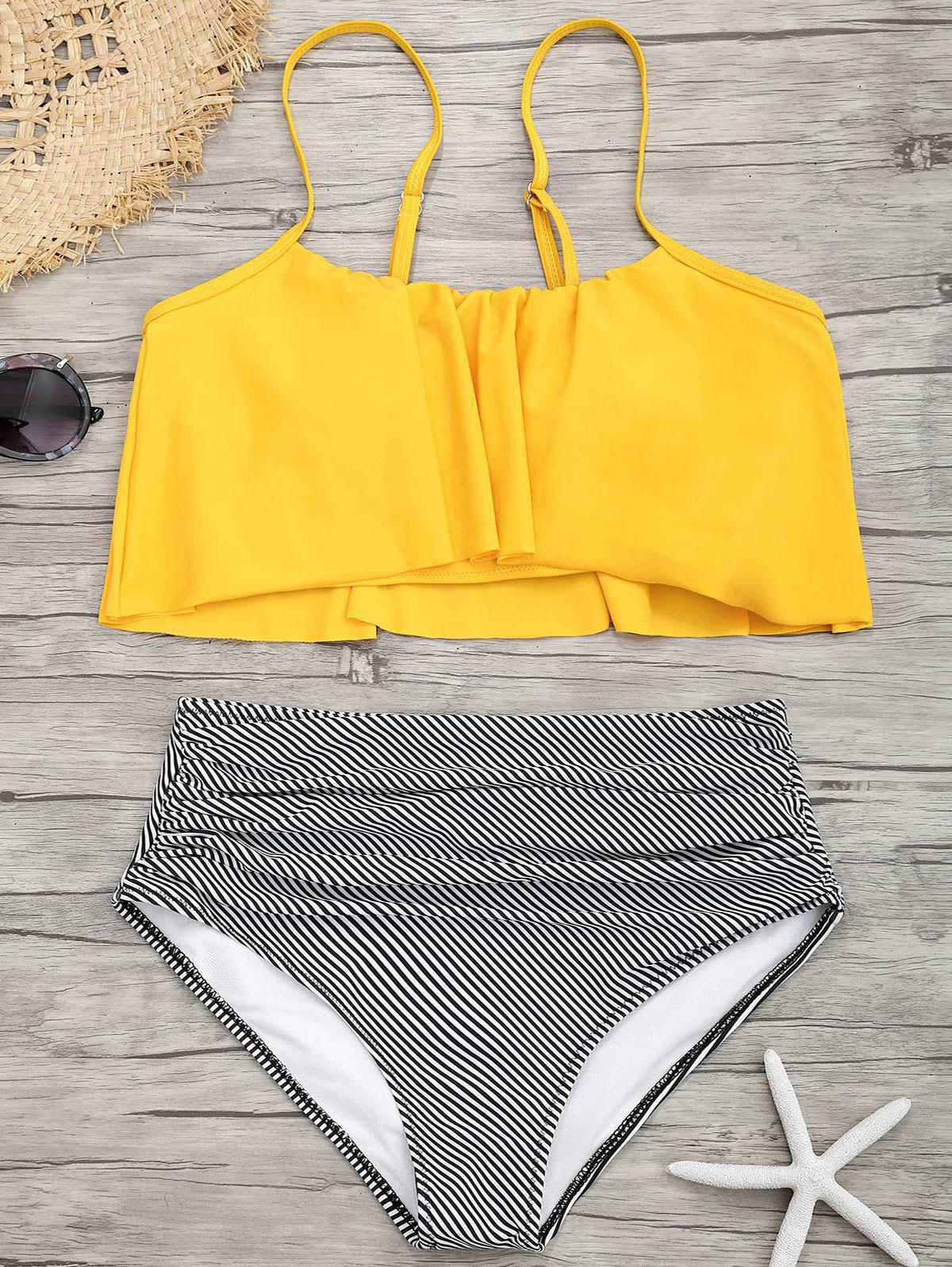 Spaghetti Strap Flounce Striped Bikini SetWOMEN<br><br>Size: L; Color: YELLOW; Swimwear Type: Bikini; Bikini Type: Flounce Bikini; Gender: For Women; Material: Nylon,Spandex; Bra Style: Padded; Support Type: Wire Free; Neckline: Spaghetti Straps; Pattern Type: Striped; Waist: High Waisted; Elasticity: Elastic; Weight: 0.2900kg; Package Contents: 1 x Bra  1 x Bottom;