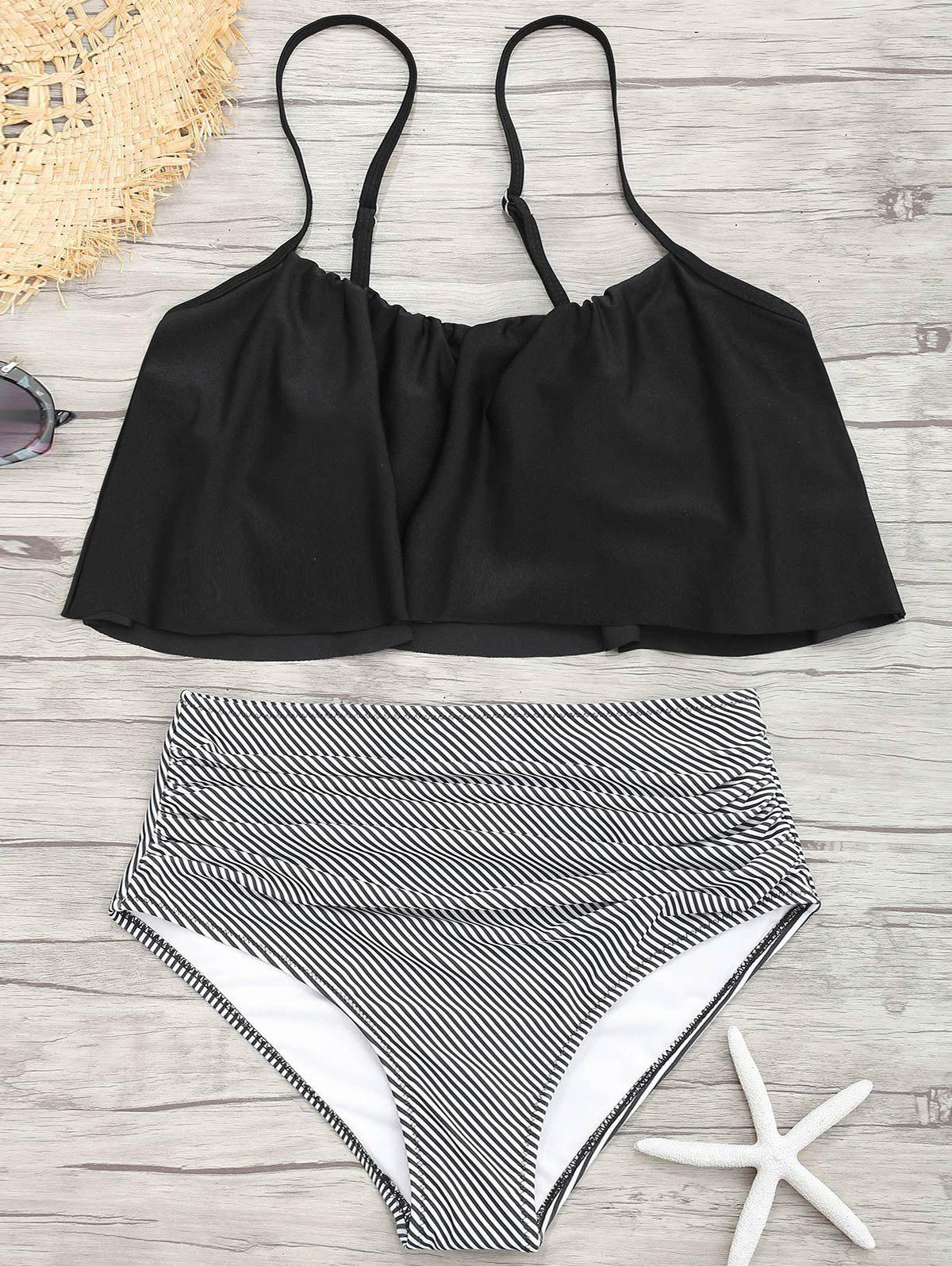 Spaghetti Strap Flounce Striped Bikini SetWOMEN<br><br>Size: S; Color: BLACK; Swimwear Type: Bikini; Bikini Type: Flounce Bikini; Gender: For Women; Material: Nylon,Spandex; Bra Style: Padded; Support Type: Wire Free; Neckline: Spaghetti Straps; Pattern Type: Striped; Waist: High Waisted; Elasticity: Elastic; Weight: 0.2900kg; Package Contents: 1 x Bra  1 x Bottom;