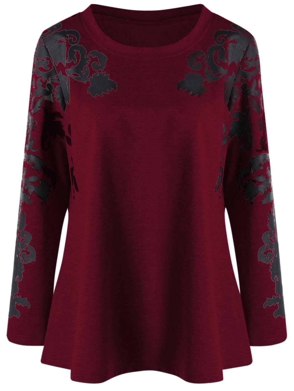 Raglan Sleeve Plus Size Print TopWOMEN<br><br>Size: 5XL; Color: DEEP RED; Material: Cotton Blends,Polyester,Spandex; Shirt Length: Regular; Sleeve Length: Full; Collar: Round Neck; Style: Casual; Season: Fall,Spring; Pattern Type: Print; Weight: 0.3910kg; Package Contents: 1 x Top;