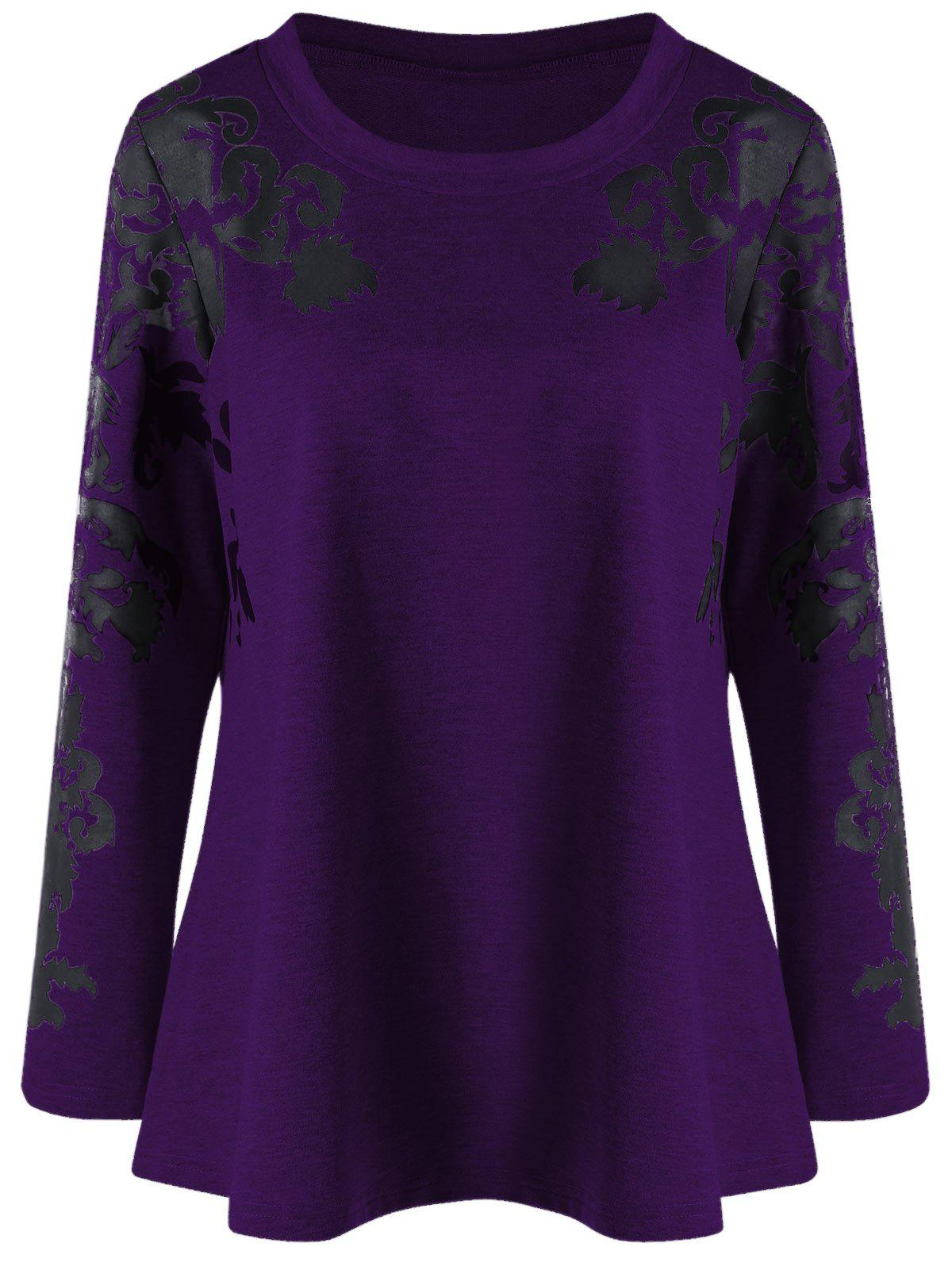 Raglan Sleeve Plus Size Print TopWOMEN<br><br>Size: 2XL; Color: DEEP PURPLE; Material: Cotton Blends,Polyester,Spandex; Shirt Length: Regular; Sleeve Length: Full; Collar: Round Neck; Style: Casual; Season: Fall,Spring; Pattern Type: Print; Weight: 0.3910kg; Package Contents: 1 x Top;