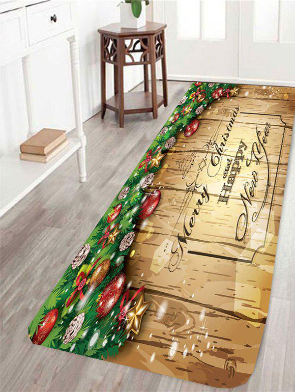 Skidproof Merry Christmas Wood Printed RugHOME<br><br>Size: W16 INCH * L47 INCH; Color: LIGHT YELLOW; Products Type: Bath rugs; Materials: Coral FLeece; Pattern: Wood Grain; Style: Festival; Shape: Rectangle; Package Contents: 1 x Rug;