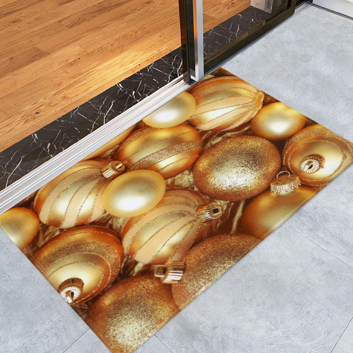 Christmas Balls Printed Coral Fleece Nonslip Bath MatHOME<br><br>Size: W16 INCH * L24 INCH; Color: GOLDEN; Products Type: Bath rugs; Materials: Coral FLeece; Pattern: Ball; Style: Festival; Shape: Rectangular; Package Contents: 1 x Rug;