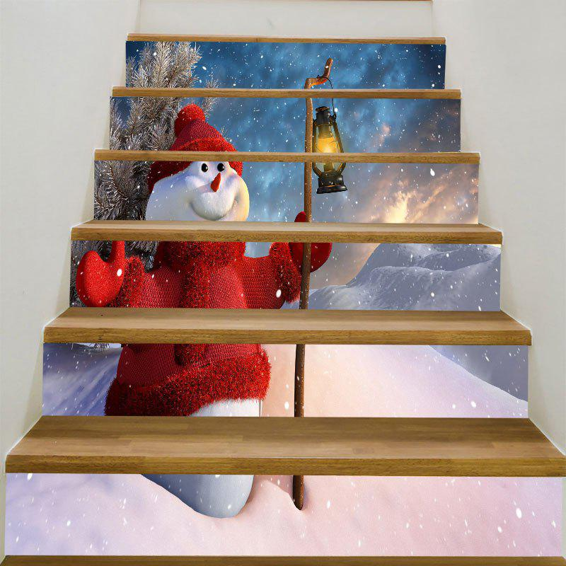Christmas Snowman Lighting Printed Stair StickersHOME<br><br>Size: 6PCS:39*7 INCH( NO FRAME ); Color: COLORFUL; Wall Sticker Type: Plane Wall Stickers; Functions: Stair Stickers; Theme: Christmas; Pattern Type: Snowman; Material: PVC; Feature: Removable; Weight: 0.3100kg; Package Contents: 1 x Stair Stickers (Set);