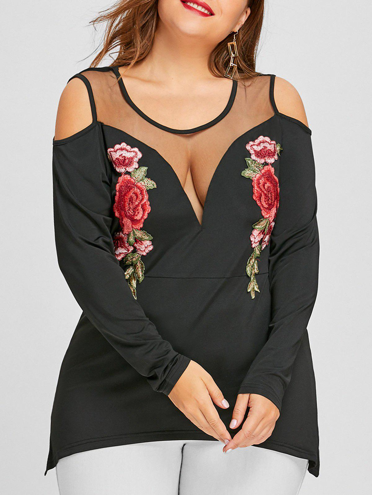 Plus Size Cold Shoulder Floral Embroidered T-shirtWOMEN<br><br>Size: 2XL; Color: BLACK; Material: Polyester; Shirt Length: Regular; Sleeve Length: Full; Collar: Round Neck; Style: Fashion; Season: Fall,Spring; Sleeve Type: Cold Shoulder; Embellishment: Embroidery; Pattern Type: Floral; Weight: 0.2900kg; Package Contents: 1 x T-shirt;