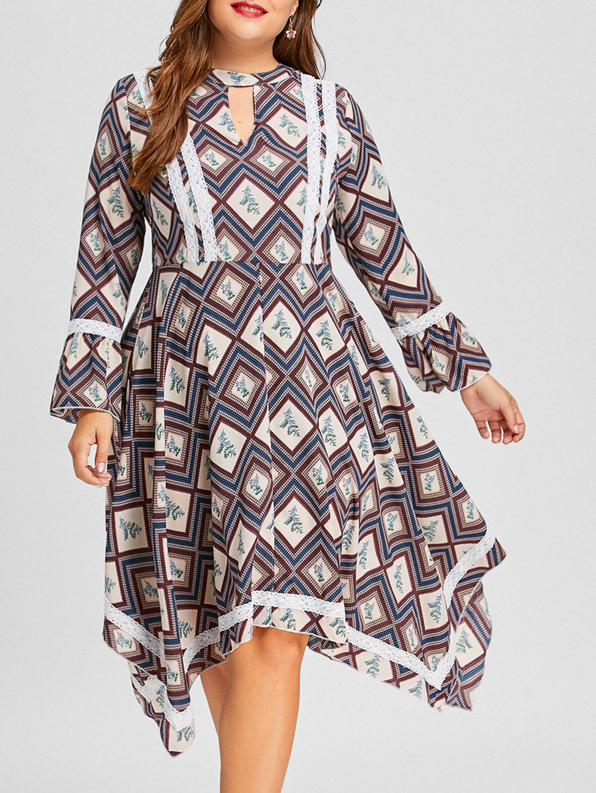 Rhombus Floral Plus Size Handkerchief DressWOMEN<br><br>Size: 5XL; Color: COLORMIX; Style: Casual; Material: Polyester; Silhouette: Asymmetrical; Dresses Length: Mid-Calf; Neckline: Keyhole Neck; Sleeve Length: Long Sleeves; Pattern Type: Floral,Geometric; With Belt: No; Season: Fall,Spring; Weight: 0.3900kg; Package Contents: 1 x Dress;