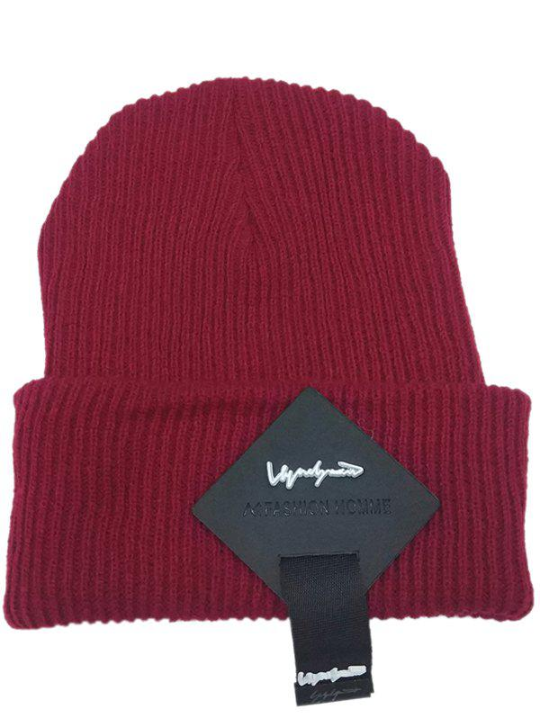 Outfit Outdoor Square Letter Label Decorated Flanging Knitted Beanie