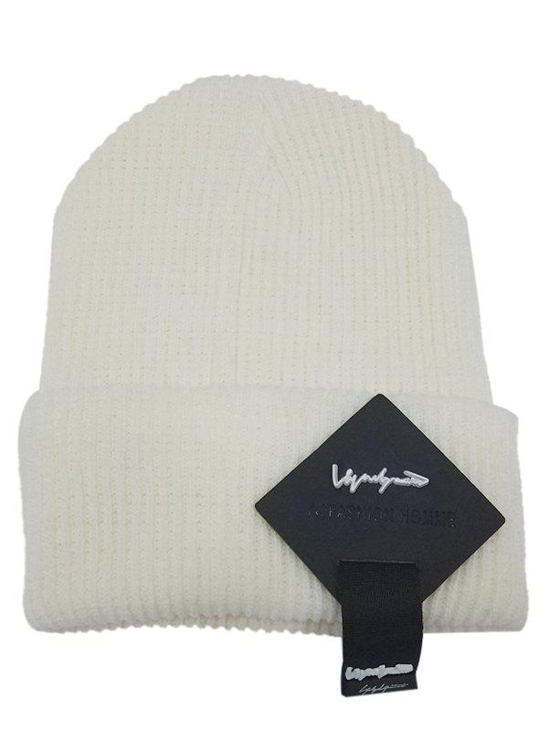 Best Outdoor Square Letter Label Decorated Flanging Knitted Beanie