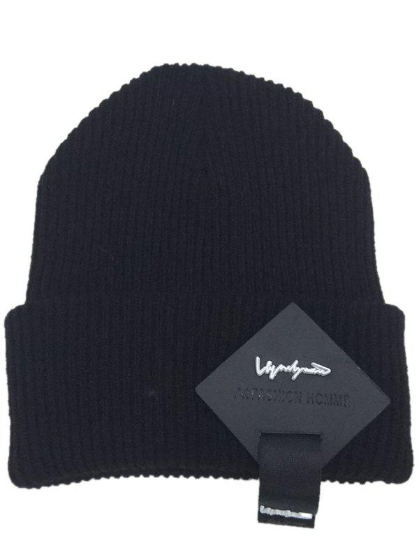 Outdoor Square Letter Label Decorated Flanging Knitted BeanieACCESSORIES<br><br>Color: BLACK; Hat Type: Skullies Beanie; Group: Adult; Gender: For Men; Style: Fashion; Pattern Type: Letter; Material: Acrylic; Weight: 0.0800kg; Package Contents: 1 x Hat;