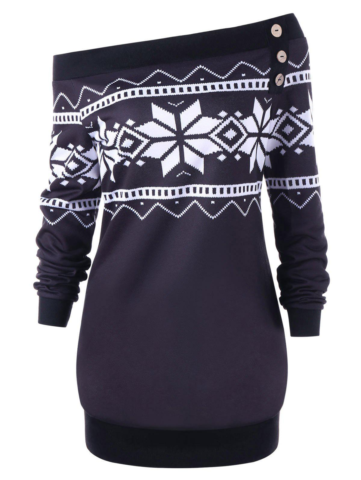 Plus Size Pullover Snowflake Geometric Skew Neck SweatshirtWOMEN<br><br>Size: XL; Color: SMASHING; Material: Polyester,Spandex; Shirt Length: Long; Sleeve Length: Full; Style: Fashion; Pattern Style: Geometric; Embellishment: Button; Season: Fall,Spring,Winter; Weight: 0.5000kg; Package Contents: 1 x Sweatshirt;
