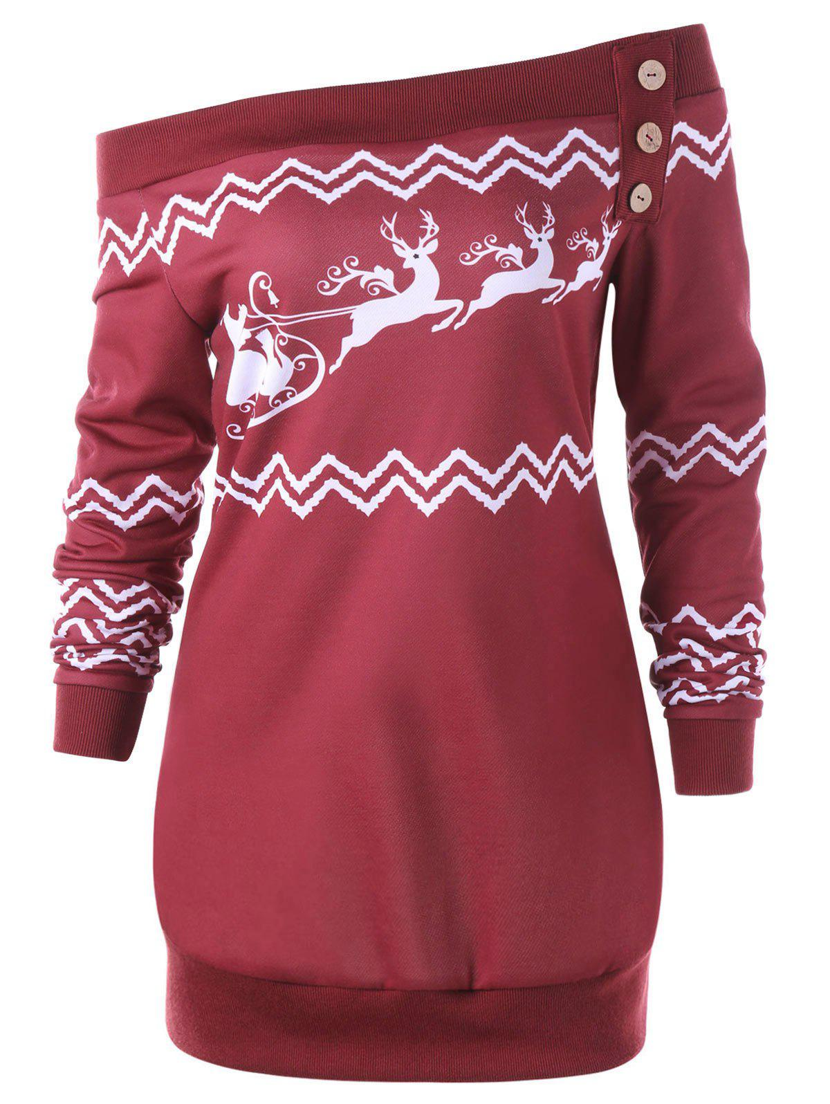 Plus Size Pullover Christmas Zigzag Deer Skew Neck SweatshirtWOMEN<br><br>Size: 5XL; Color: RED; Material: Polyester,Spandex; Shirt Length: Long; Sleeve Length: Full; Style: Casual; Pattern Style: Character,Zig Zag(Chevron); Embellishment: Button; Season: Fall,Spring,Winter; Weight: 0.3500kg; Package Contents: 1 x Sweatshirt;