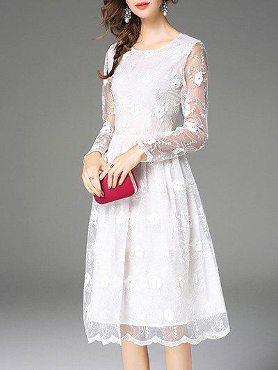 Trendy Lace Patchwork See Thru Dress