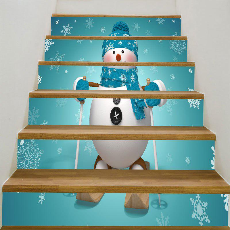 Skiing Christmas Snowman Printed Decorative Stair StickersHOME<br><br>Size: 6PCS:39*7 INCH( NO FRAME ); Color: BLUE GREEN; Wall Sticker Type: Plane Wall Stickers; Functions: Stair Stickers; Theme: Christmas; Pattern Type: Snowman; Material: PVC; Feature: Removable; Weight: 0.3100kg; Package Contents: 1 x Stair Stickers (Set);