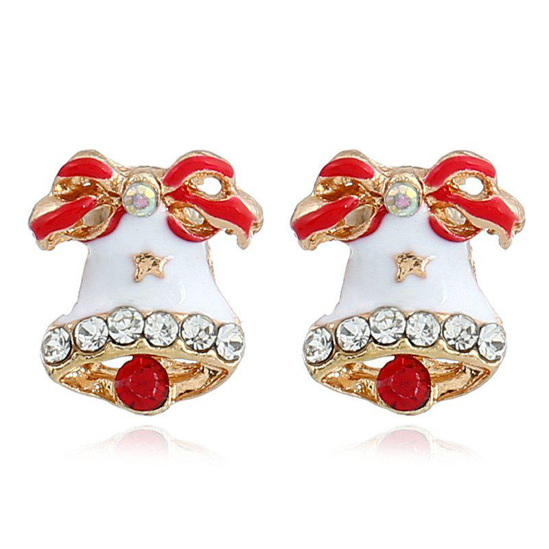 Rhinestone Christmas Bows Bell Stud EarringsJEWELRY<br><br>Color: RED; Earring Type: Stud Earrings; Gender: For Women; Style: Trendy; Shape/Pattern: Bowknot; Length: 1.1CM; Weight: 0.0070kg; Package Contents: 1 x Earring (Pair);