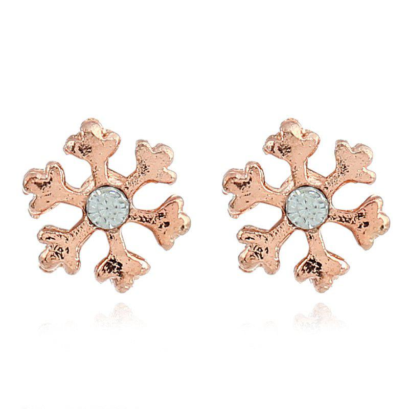 Rhinestone Snowflake Christmas Stud EarringsJEWELRY<br><br>Color: GOLDEN; Earring Type: Stud Earrings; Gender: For Women; Style: Trendy; Shape/Pattern: Floral; Length: 0.9CM; Weight: 0.0060kg; Package Contents: 1 x Earring (Pair);