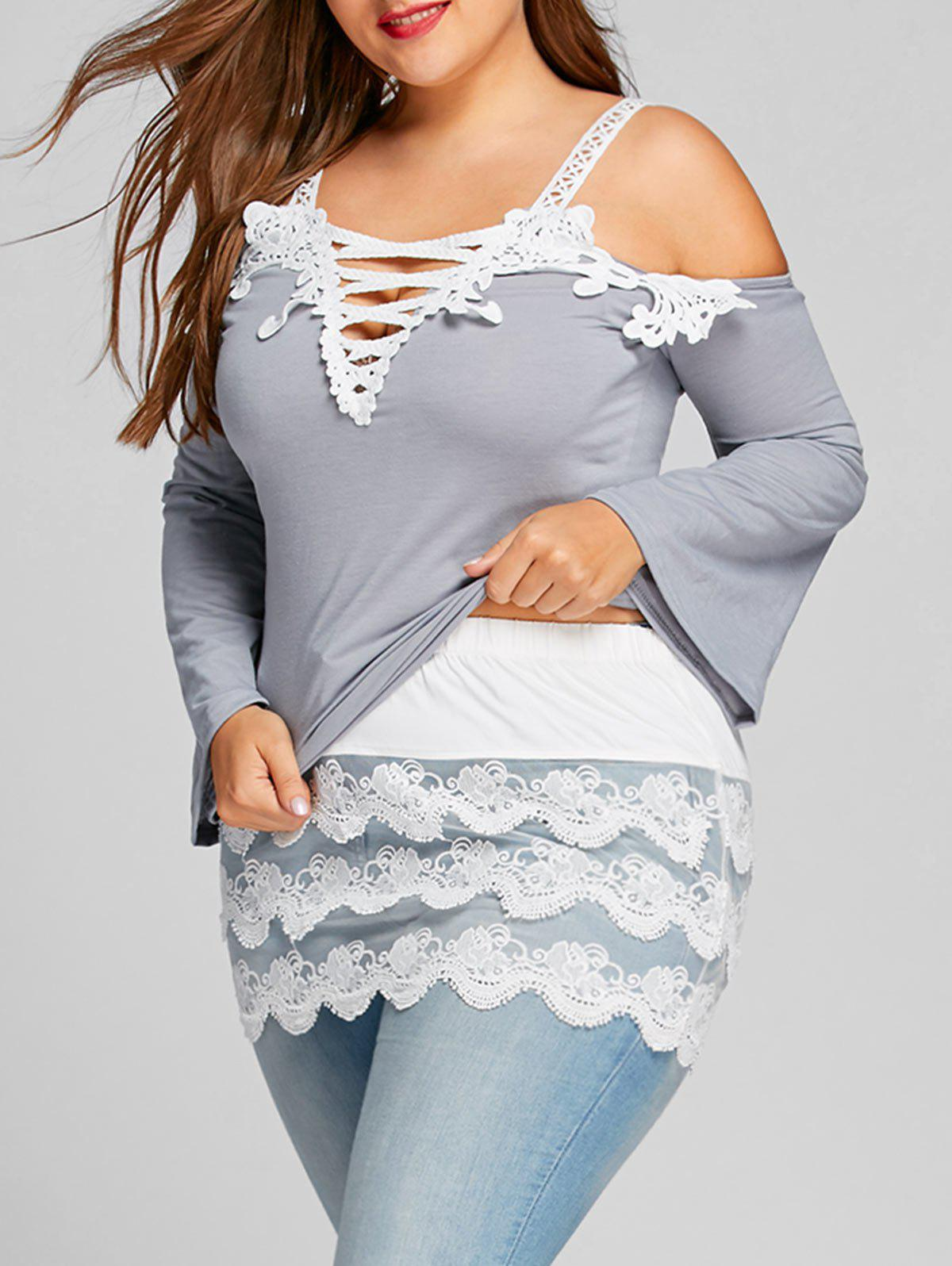 Plus Size Layered Scalloped Lace Extender Mini SkirtWOMEN<br><br>Size: 3XL; Color: WHITE; Material: Polyester; Length: Mini; Silhouette: Bodycon; Pattern Type: Solid; Embellishment: Lace; Season: Fall; Weight: 0.1500kg; Package Contents: 1 x Skirt;