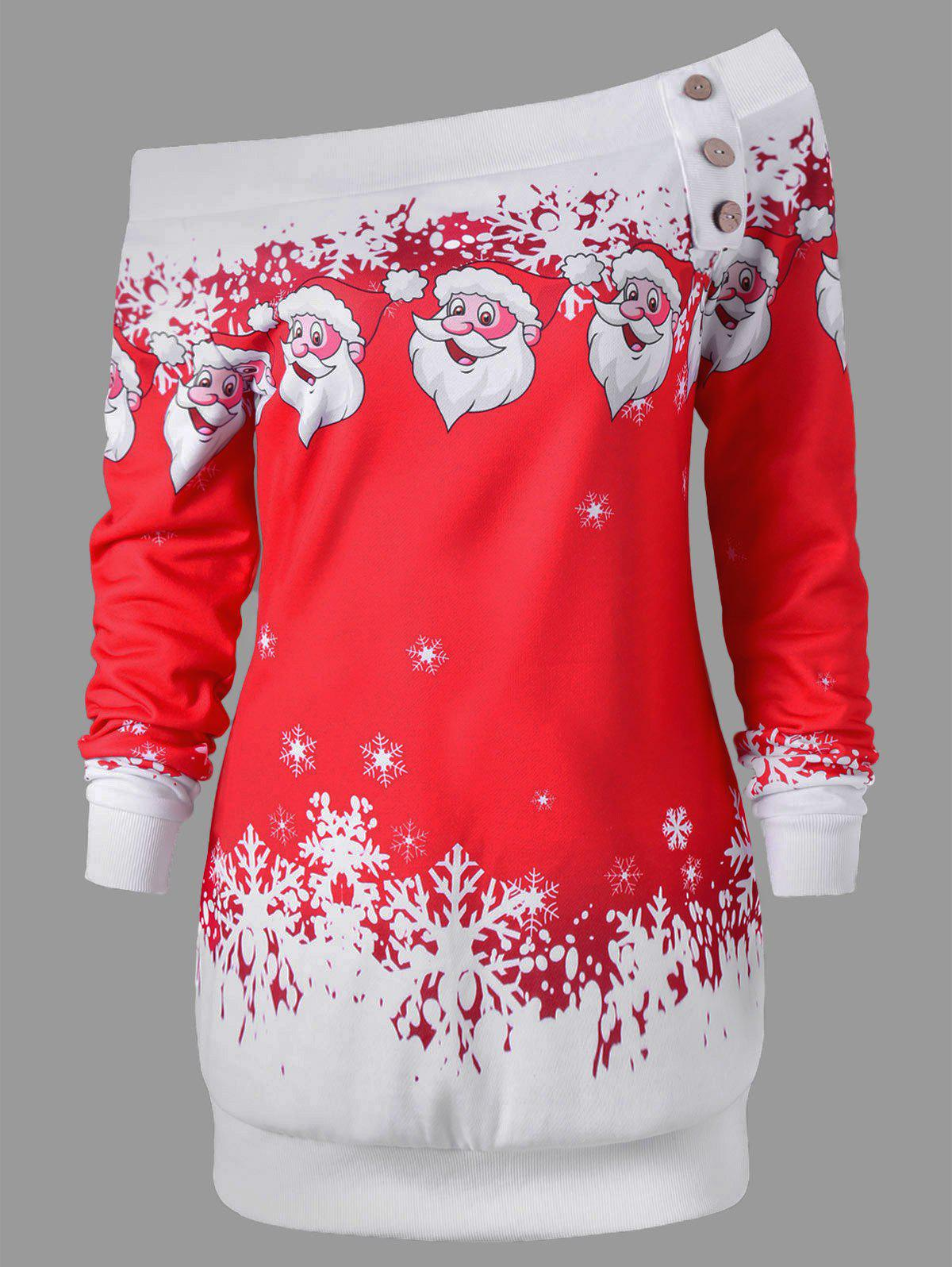 Pullover Santa Claus Snowflake Skew Neck Christmas SweatshirtWOMEN<br><br>Size: M; Color: RED; Material: Polyester,Spandex; Shirt Length: Long; Sleeve Length: Full; Style: Casual; Pattern Style: Character; Embellishment: Button; Season: Fall,Spring,Winter; Weight: 0.3000kg; Package Contents: 1 x Sweatshirt;