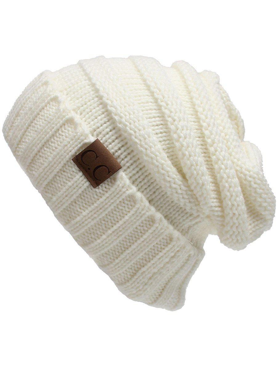 Outdoor CC Label Decorated Flanging Knitted BeanieACCESSORIES<br><br>Color: WHITE; Hat Type: Skullies Beanie; Group: Adult; Gender: For Women; Style: Fashion; Pattern Type: Letter; Material: Acrylic; Weight: 0.1170kg; Package Contents: 1 x Hat;