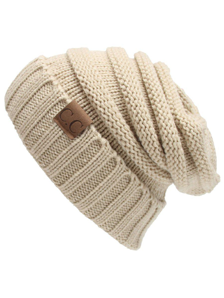 Outdoor CC Label Decorated Flanging Knitted BeanieACCESSORIES<br><br>Color: BEIGE; Hat Type: Skullies Beanie; Group: Adult; Gender: For Women; Style: Fashion; Pattern Type: Letter; Material: Acrylic; Weight: 0.1170kg; Package Contents: 1 x Hat;