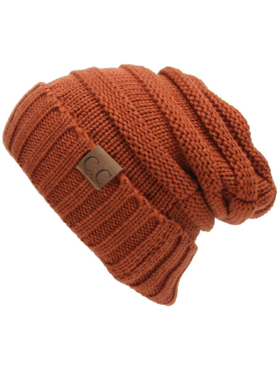 Outdoor CC Label Decorated Flanging Knitted BeanieACCESSORIES<br><br>Color: SPICE; Hat Type: Skullies Beanie; Group: Adult; Gender: For Women; Style: Fashion; Pattern Type: Letter; Material: Acrylic; Weight: 0.1170kg; Package Contents: 1 x Hat;