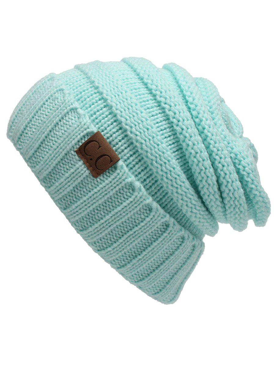 Outdoor CC Label Decorated Flanging Knitted BeanieACCESSORIES<br><br>Color: LIGHT GREEN; Hat Type: Skullies Beanie; Group: Adult; Gender: For Women; Style: Fashion; Pattern Type: Letter; Material: Acrylic; Weight: 0.1170kg; Package Contents: 1 x Hat;