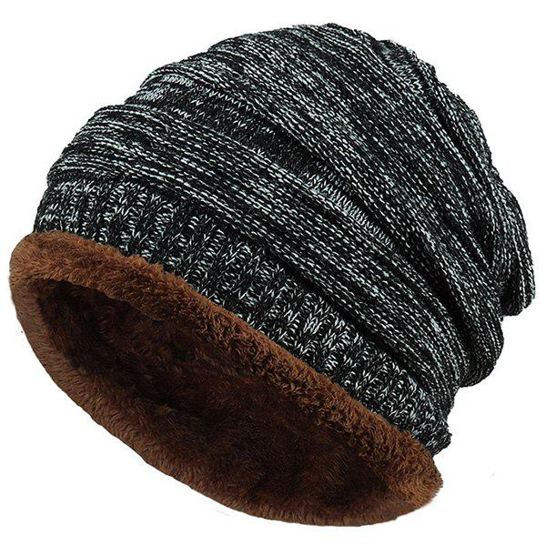 Outdoor Colormix Pattern Velvet Knitted BeanieACCESSORIES<br><br>Color: BLACK; Hat Type: Skullies Beanie; Group: Adult; Gender: For Men; Style: Fashion; Pattern Type: Others; Material: Acrylic; Weight: 0.0860kg; Package Contents: 1 x Hat;