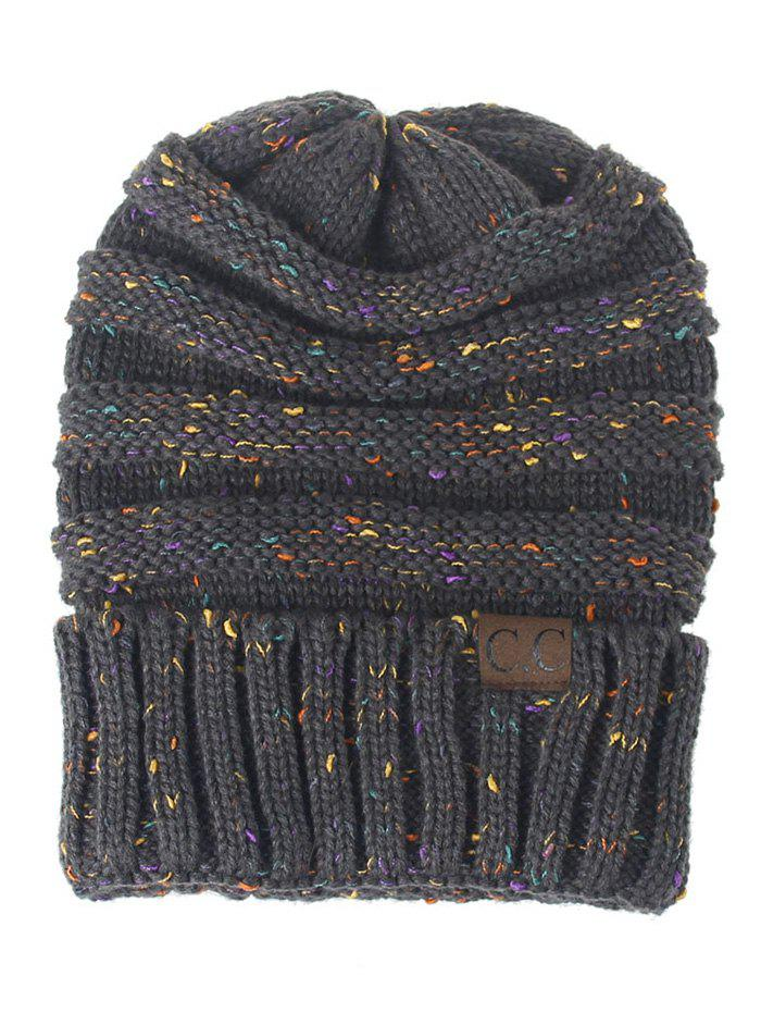 Outdoor CC Label Decorated Colormix Knitted BeanieACCESSORIES<br><br>Color: DARK GRAY; Hat Type: Skullies Beanie; Group: Adult; Gender: For Women; Style: Fashion; Pattern Type: Striped; Material: Acrylic; Weight: 0.1270kg; Package Contents: 1 x Hat;
