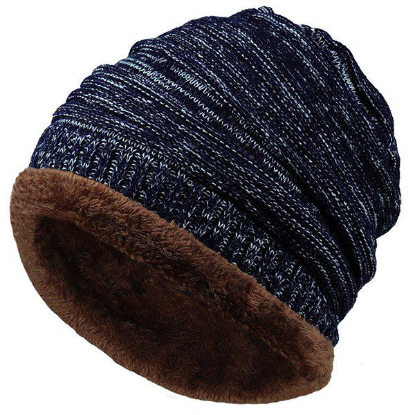 Outdoor Colormix Pattern Velvet Knitted BeanieACCESSORIES<br><br>Color: CADETBLUE; Hat Type: Skullies Beanie; Group: Adult; Gender: For Men; Style: Fashion; Pattern Type: Others; Material: Acrylic; Weight: 0.0860kg; Package Contents: 1 x Hat;