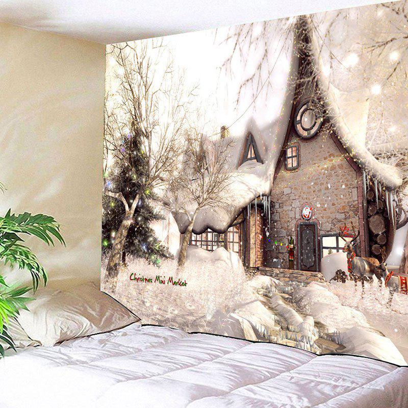 Wall Hanging Christmas Snowscape Pattern TapestryHOME<br><br>Size: W79 INCH * L59 INCH; Color: COLORMIX; Style: Festival; Theme: Christmas; Material: Cotton,Polyester; Feature: Removable,Washable; Shape/Pattern: Buildings,Tree; Weight: 0.3100kg; Package Contents: 1 x Tapestry;