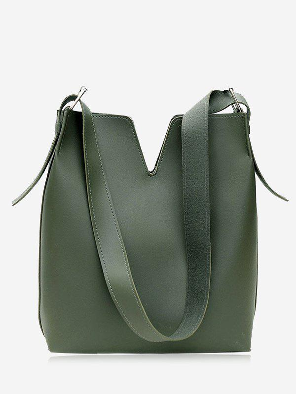 PU Leather Curve 2 Pieces Shoulder Bag SetSHOES &amp; BAGS<br><br>Color: GREEN; Handbag Type: Shoulder bag; Style: Fashion; Gender: For Women; Pattern Type: Solid; Handbag Size: Medium(30-50cm); Closure Type: Magnetic Closure; Occasion: Versatile; Main Material: PU; Weight: 1.2000kg; Package Contents: 1 x Shoulder Bag, 1 x Clutch Bag;