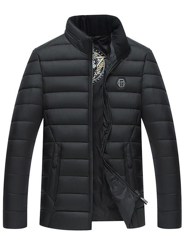 Fancy Stand Collar Full Zip Padded Jacket