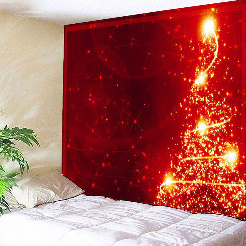 Wall Hanging Sparkling Christmas Tree Printed TapestryHOME<br><br>Size: W59 INCH * L51 INCH; Color: RED; Style: Festival; Theme: Christmas; Material: Cotton,Polyester; Feature: Removable,Washable; Shape/Pattern: Tree; Weight: 0.2000kg; Package Contents: 1 x Tapestry;