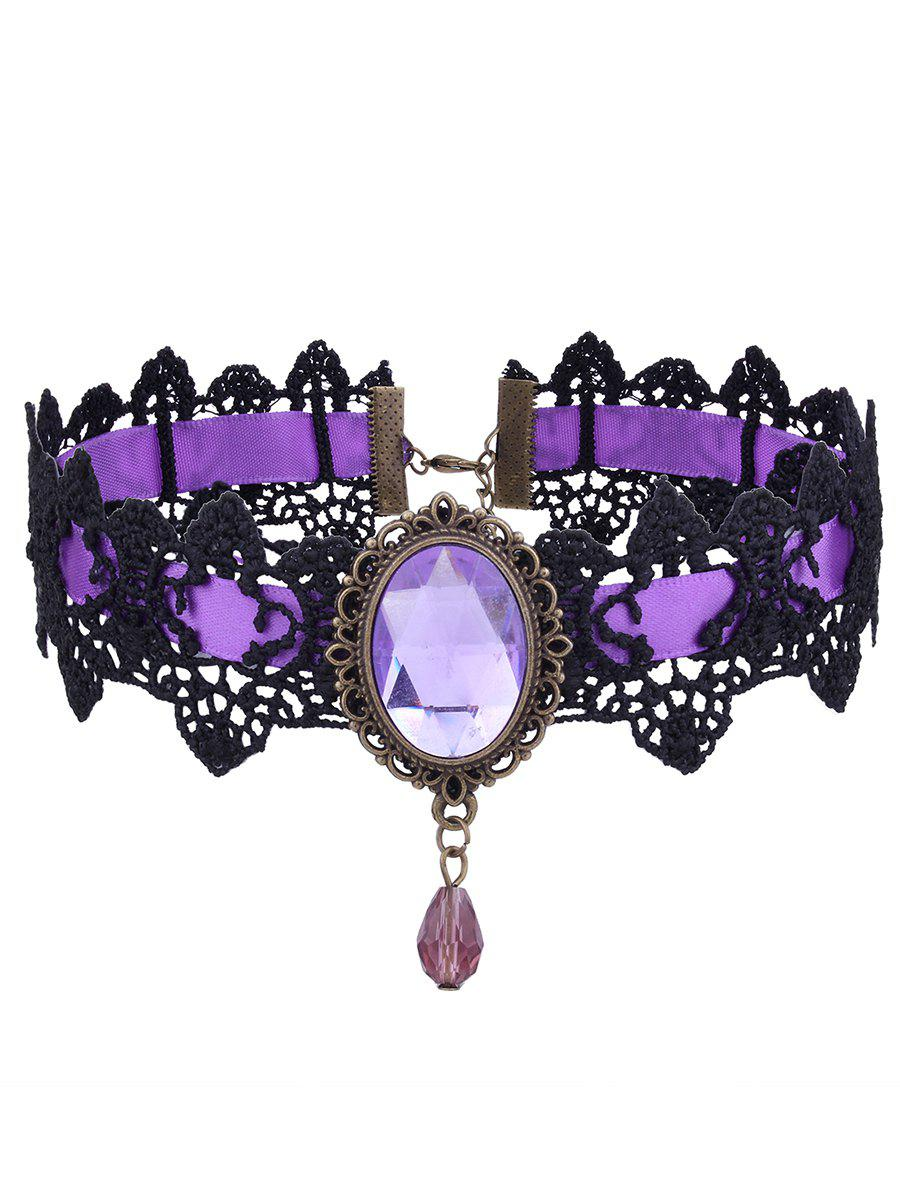 Gothic Artificial Gem Oval Lace Choker NecklaceJEWELRY<br><br>Color: PURPLE; Item Type: Chokers Necklace; Gender: For Women; Style: Gothic; Shape/Pattern: Geometric; Length: 40CM; Weight: 0.0160kg; Package Contents: 1 x Choker;